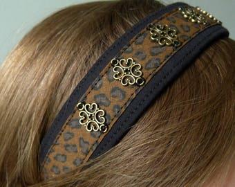 """Headband """"Roxxy"""" leopard and black headband for hair rock unique faitmain"""
