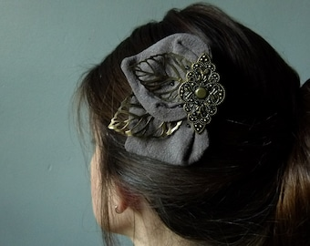 Clip Elise gray petal and leaves bronze elegant hairstyle accessories evening unique wedding