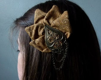 Clip Eventail with petals in brown fabric accessory hairstyle elegant art deco retro romantic hair