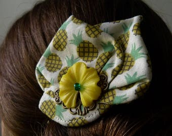 Pineapple was summery hair clip accessory unique hand made holiday