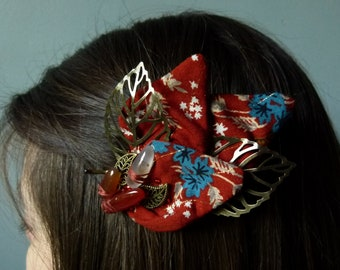 Demelza clamp with Carnelian pearls, petal in orange fabric and bronze leaves, elegant autumn hairstyle accessory