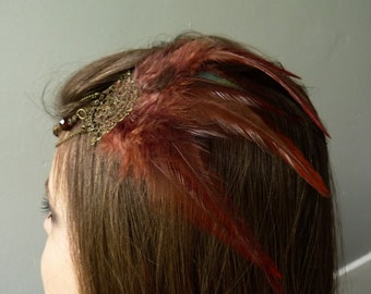 Joyce charleston party gatsby Brown feathered hair tiara wedding costume show pagan shaman tribal fusion