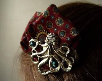 Octopus on steampunk clockwork gear steampunk fabric Burgundy hair clip