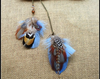 Hair jewelry ethnic, blue, brown feathers, venerated pheasant, grizzly rooster, glass beads