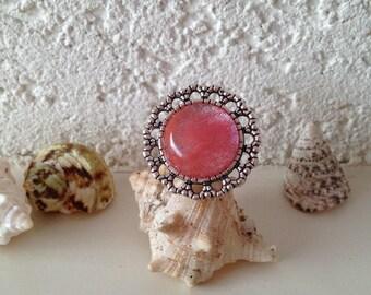 Bohemian stone rose quartz cherry, adjustable silver-plated ring