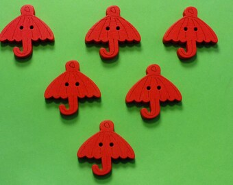 SET of 6 wood buttons: 23mm red umbrella
