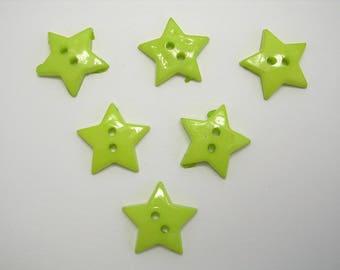 LOT 6 buttons: 12mm Green star