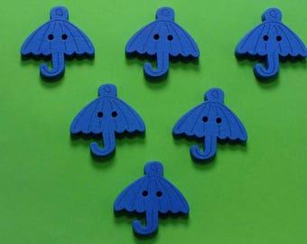 SET of 6 wood buttons: 23mm blue umbrella