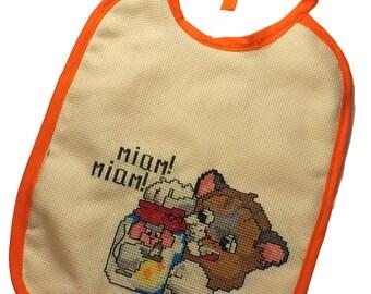BIB is hand embroidered cross stitch: cat, yum yum!