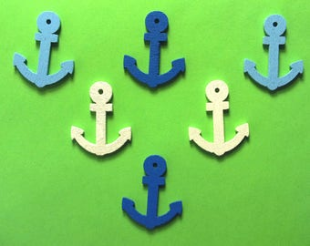 APPLIQUE EMBELLISHMENTS wood 6: anchor 24 * 20mm blue/white