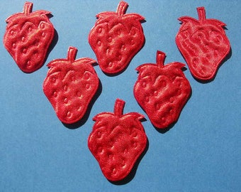 LOT 6 APPLIQUES: 45mm red Strawberry