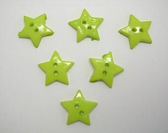 LOT 6 buttons: 19mm Green star