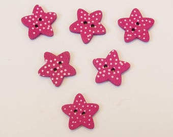 SET of 6 wood buttons: Star purple 15mm