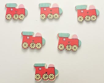 SET of 6 wood buttons: locomotive red/blue 19mm