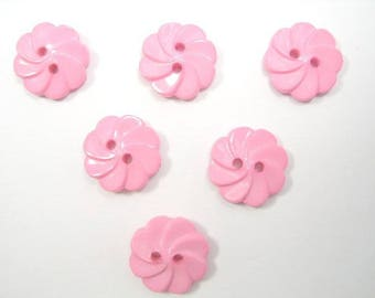 LOT 6 buttons: flower twisted pink light 13mm