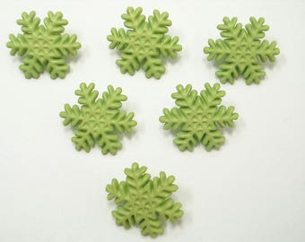 LOT 6 buttons: 17mm Green snow flake