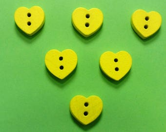 SET of 6 wood buttons: yellow 12mm heart