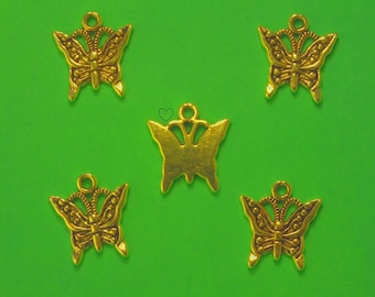 Gold LOT 5 metal CHARMS: Butterfly 17 mm