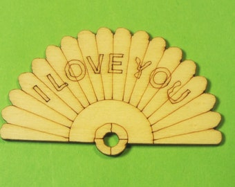 """APPLIQUE Baltic wood: Fan """"I love you"""" 50 * 25 mm, 1.5 mm thick."""