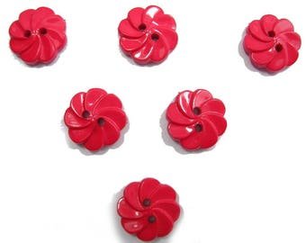 LOT 6 buttons: flower twisted red 17mm