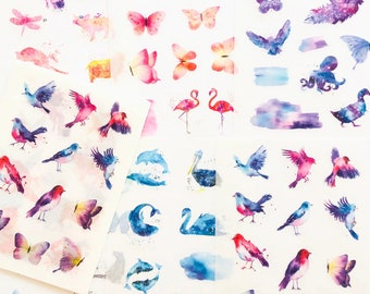 Set of 6 sheets of stickers, Animals in watercolor