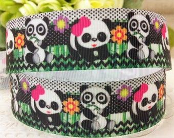 POLYESTER fabric Ribbon: panda width 22mm