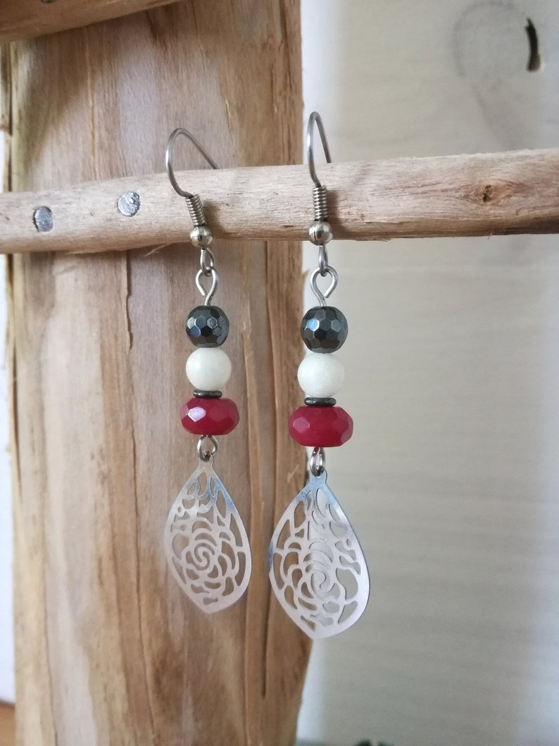 Red pendant earrings bordeau with pearls in fine ruby stones steel piece. hematite and jade Unique handmade