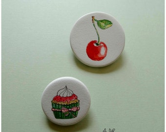 Brooch duo porcelain - the cherry on top.