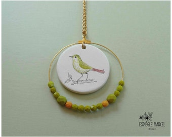 Necklace made of porcelain and creole - green bird