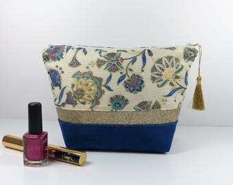 Suede makeup bag, sequins and Japanese cotton