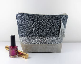 Make-up, cotton linen asanoha and silver sequins