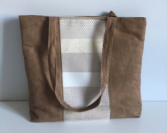 """Hand - """"Striped"""" tote bag Brown / / for her / brown suede bag"""