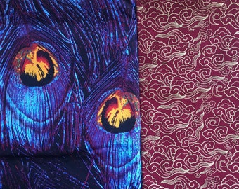 Japanese patterned fabrics, peacock feathers, cotton fabric, coupon, 50x50 cm