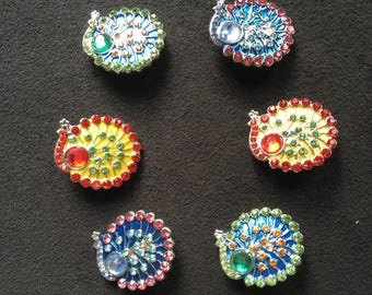Snap jewelry Peacock rhinestone colors red, green, blue and multicolored head: 5.5 mm
