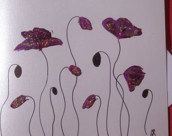 Double - stylized purple poppies hand painted card