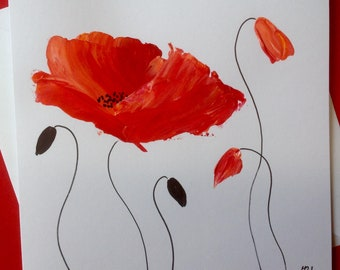 Art card birthday card poppies hand painted greeting card