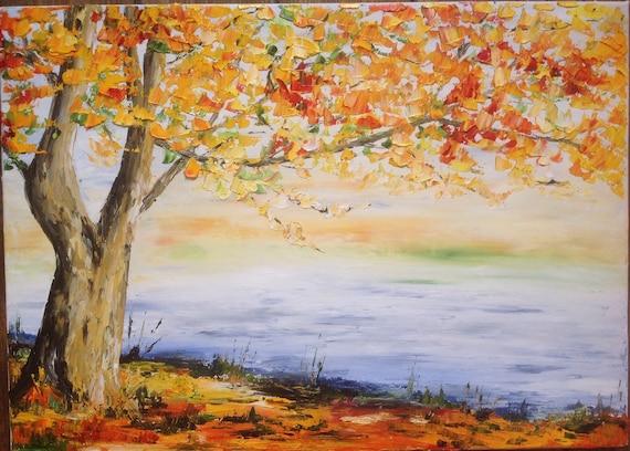 Tableau un arbre en automne peinture à l'