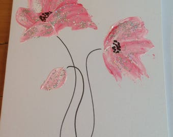 Hand painted pink poppy greeting card birthday card