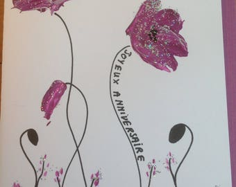 Double silver and purple poppies hand painted birthday card