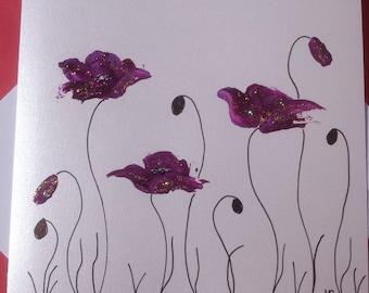 Dual handpainted - purple poppies