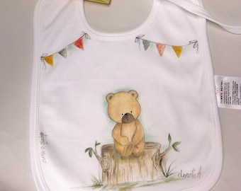 Baby bib with bear-hand decorated bib-first year holiday-gift for the new mom-baby-high quality