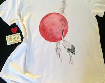 Red Sun T-shirt and crane-Japan style painted T-shirt-spiritual women's T-shirt-Oriental style gift-Exotic woman T-shirt