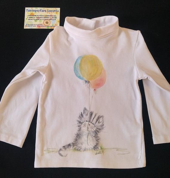 Maglietta Dolcevita Micio Con Palloncini Dipinta T Shirt Etsy