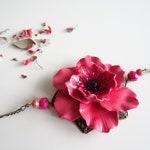 flower headband, head jewelry, hair accessory, hair jewelry, pink jewelry, pink flower, French handmade, wedding jewelry, fimo