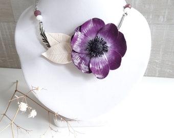 Anemone Flower necklace