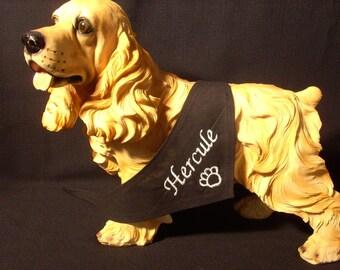 Black bandana with personalized name dog XS, S, M