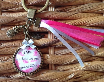 Key * make your dreams a reality! * support and charms bronze metal, glass, ribbons and bow cabochon.