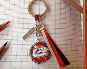 Key * teacher thank you * backing and silver plated charm, glass cabochon, orange, black, white ribbons.
