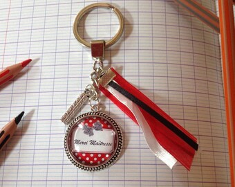 Key * teacher thank you * backing and silver plated charm, glass cabochon, red, black, white ribbons.