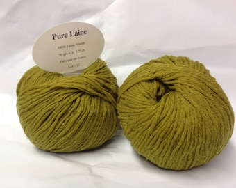 lot 10 balls pure wool / khaki / made in FRANCE